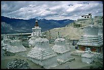 Chortens in monestary, Padum, Zanskar, Jammu and Kashmir. India (color)