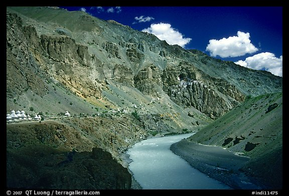 Tsarap River and Phugtal monastery, Zanskar, Jammu and Kashmir. India