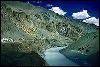 Tsarap River and Phugtal monastery, Zanskar, Jammu and Kashmir. India (color)