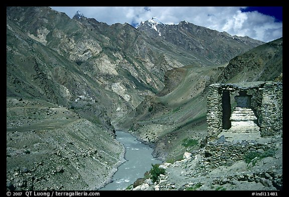 Covered chorten river valley, Zanskar, Jammu and Kashmir. India (color)