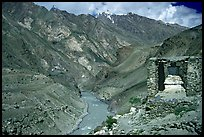 Covered chorten river valley, Zanskar, Jammu and Kashmir. India
