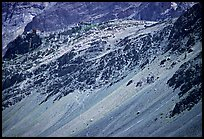 Rocky slopes topped by village and gompa, Zanskar, Jammu and Kashmir. India