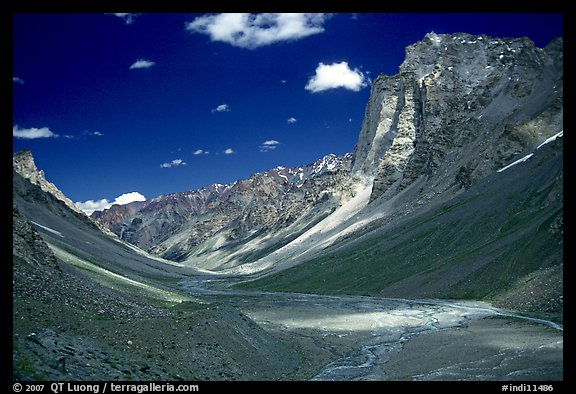 Zanskar Valley flanked by Gumburanjan monolith, Zanskar, Jammu and Kashmir. India
