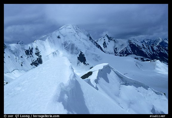 Snowy ridge above Shingo La, Zanskar, Jammu and Kashmir. India