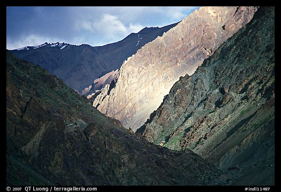Dramatic light on barren mountains, Zanskar, Jammu and Kashmir. India (color)