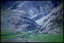 Cultivated fields, village, gompa, and barren mountains, Zanskar, Jammu and Kashmir. India