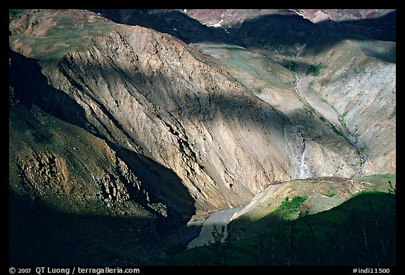 River Valley and cloud shadows, Zanskar, Jammu and Kashmir. India (color)