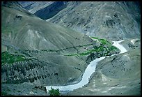 Zanskar River valley with cultivation patches, Zanskar, Jammu and Kashmir. India