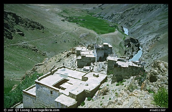 Terraced roofs of village above river valley, Zanskar, Jammu and Kashmir. India (color)