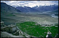 Chortens overlooking cultivations in the Padum plain, Zanskar, Jammu and Kashmir. India (color)