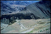 Hairpin turns on Khadung La pass, Ladakh, Jammu and Kashmir. India (color)