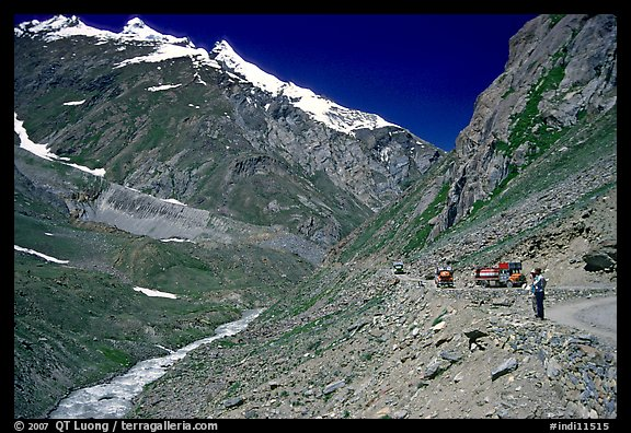 Valley and road between Kargil and Padum, Ladakh, Jammu and Kashmir. India (color)