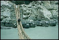 Man crossing a river by rope bridge, Zanskar, Jammu and Kashmir. India