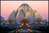 Bahai temple at dusk. New Delhi, India (color)