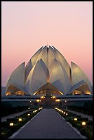 Bahai temple at twilight. New Delhi, India (color)