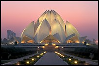 Lotus-shaped Bahai temple at twilight. New Delhi, India ( color)