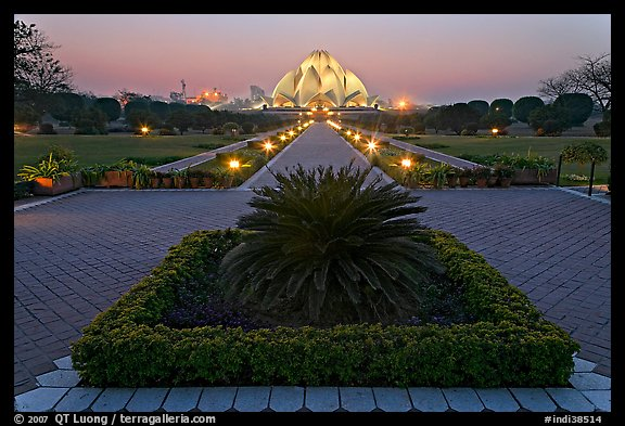 Gardens and  Bahai temple at twilight. New Delhi, India