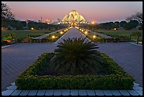 Gardens and  Bahai temple at twilight. New Delhi, India (color)