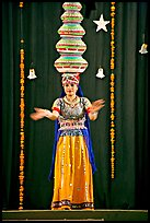 Rajasthani dancer with balanced jars. New Delhi, India (color)