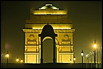India Gate by night. New Delhi, India ( color)