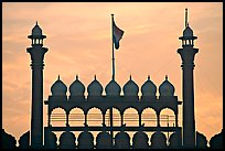 Turrets above Lahore Gate, Red fort, sunrise. New Delhi, India