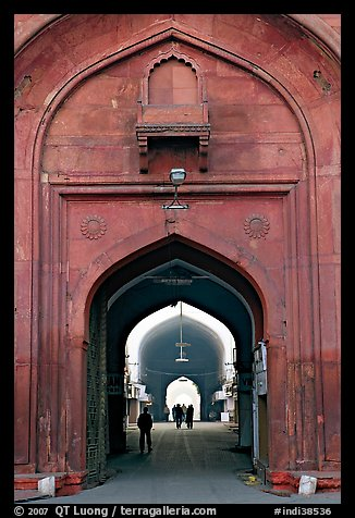 Gate leading to the Chatta Chowk (Covered Bazar), Red Fort. New Delhi, India (color)