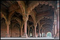 Arches in Diwan-i-Am, Red Fort. New Delhi, India