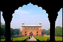 Naubat Khana seen through arches of Diwan-i-Am, Red Fort. New Delhi, India (color)