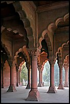 Red sandstone arches in Diwan-i-Am, Red Fort. New Delhi, India