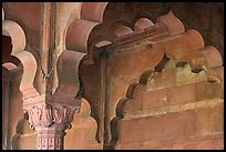 Detail of arche in Diwan-i-Am, Red Fort. New Delhi, India