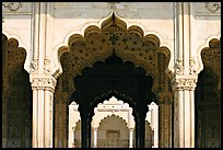 Arches, Diwan-i-Khas (Hall of private audiences), Red Fort. New Delhi, India (color)