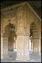 Decorated columns, Hammans, Red Fort. New Delhi, India (color)