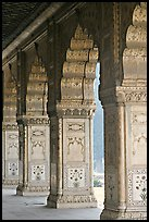 Marble columns,  Royal Baths, Red Fort. New Delhi, India ( color)
