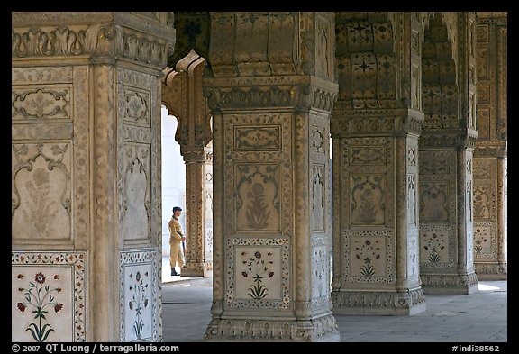 Row Columns and guard, Royal Baths, Red Fort. New Delhi, India
