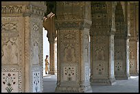 Row Columns and guard, Royal Baths, Red Fort. New Delhi, India (color)