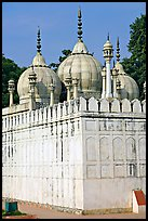 Moti Masjid (Pearl Mosque), enclosed between walls aligned with the rest of the Red Fort. New Delhi, India ( color)