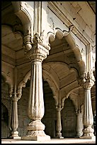 Thin columns, Khas Mahal, Red Fort. New Delhi, India ( color)