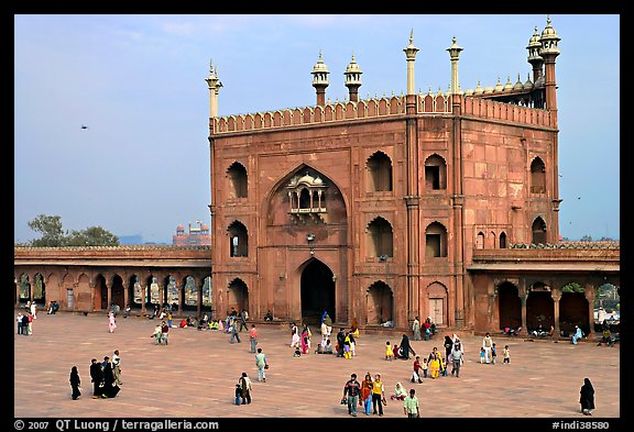 Courtyard and East gate of Masjid-i-Jahan Numa. New Delhi, India
