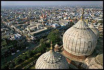 Domes of Jama Masjid mosque and Old Delhi from above. New Delhi, India ( color)