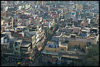 View of Old Delhi streets and houses from above. New Delhi, India