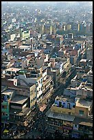 View of a Old Delhi street from above. New Delhi, India
