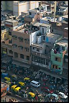Street traffic and buildings from above, Old Delhi. New Delhi, India