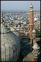 Domes and Minaret from above, Jama Masjid. New Delhi, India