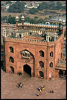 East Gate and courtyard from above, Jama Masjid. New Delhi, India (color)