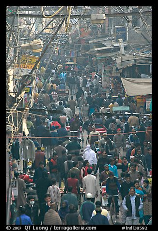 Crowds in Old Delhi street from above. New Delhi, India