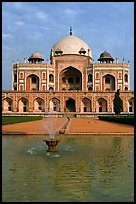 Basin and main tomb of the Emperor Humayun, afternoon. New Delhi, India ( color)