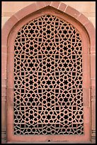Screened marble window, Humayun's tomb. New Delhi, India (color)