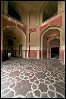 Geometrical patters on the floor of hall, Humayun's tomb. New Delhi, India ( color)