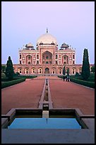 Humayun's tomb and watercourses at dusk. New Delhi, India