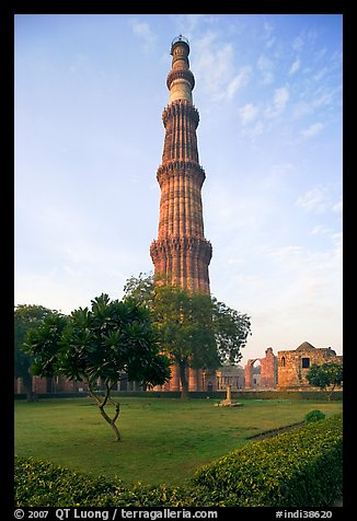 Qutb Minar garden and tower. New Delhi, India (color)